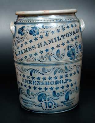 JAMES HAMILTON & CO. / GREENSBORO, Pa. Ten-Gallon Stoneware Crock w/ Profuse Stars and Freehand Decoration