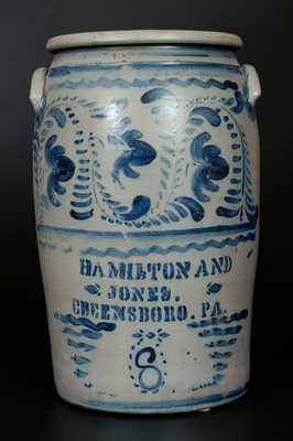8 Gal. HAMILTON & JONES / GREENSBORO, PA Stoneware Crock w/ Profuse Brushed Cobalt Floral Decoration