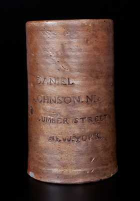 DANIEL JOHNSON. No 24 / LUMBER STREET / NEW.YORK. Stoneware Oyster Jar by Thomas Commeraw