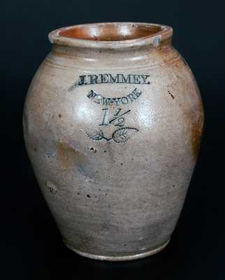 J. REMMEY / NEW-YORK Stoneware Jar w/ Impressed Foliate Designs