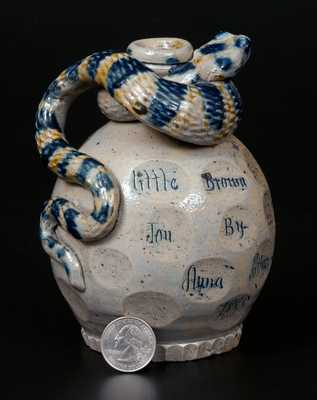 Very Rare Anna Pottery Salt-Glazed Stoneware Snake Jug, 1885