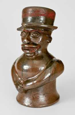 Extremely Important Southern Stoneware African-American Preacher Face Vessel, Rock Mills, Alabama