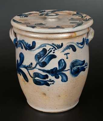 JOHN BELL / WAYNESBORO Heavily-Decorated Lidded Stoneware Crock