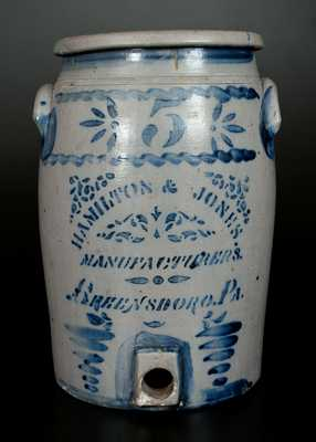 5 Gal. HAMILTON & JONES / GREENSBORO, PA Stoneware Water Cooler w/ Stenciled and Freehand Decoration