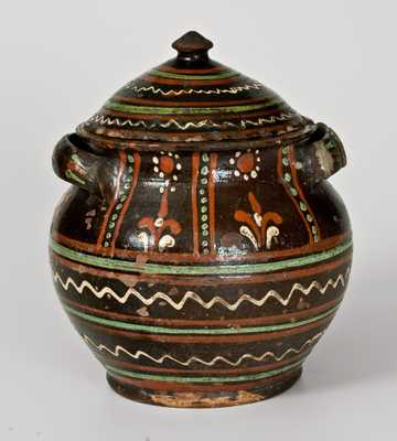 Alamance County, North Carolina, Redware Sugar Jar, c1800