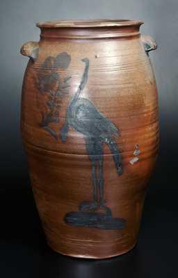 Large Morgantown, WV Stoneware Turkey Jar w/ Ornate Handles