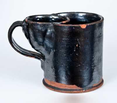 E H / King Wood / 1850, Kingwood, Virginia (now WV) Redware Mug