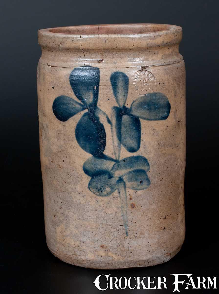 P Herrmann Baltimore Stoneware Jar W Clover Decoration