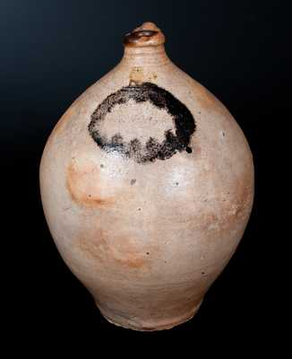 C. CROLIUS / NEW-YORK Ovoid Stoneware Jug with Unusual Slip Decoration