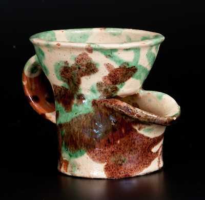 Exceptional Shenandoah Valley Multi-Glazed Redware Shaving Mug, attrib. J. Eberly & Co., Strasburg, VA