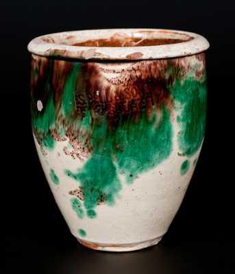 Small-Sized S. BELL & SON / STRASBURG, VA Shenandoah Valley Multi-Glazed Redware Cream Jar
