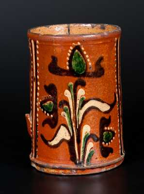 Exceedingly Rare Alamance County, NC Southern Redware Mug w/ Profuse Three-Color Slip Decoration