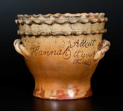 Outstanding Chester Co., PA Redware Flowerpot with Double-Crimped Rim and Presentation Inscription Dated 1823