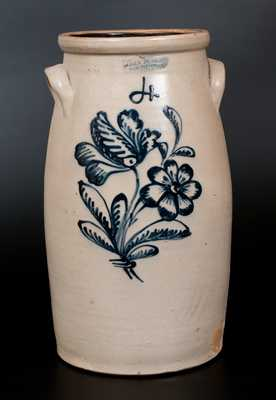 JOHN BURGER / ROCHESTER Stoneware Churn w/ Detailed Slip-Trailed Floral Decoration