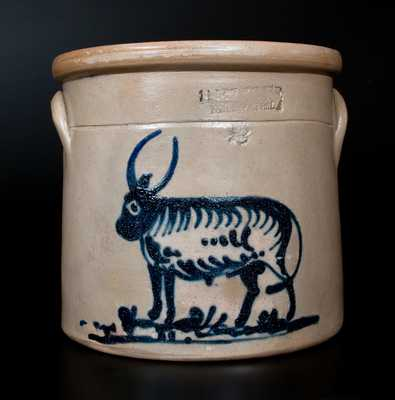 Very Rare J. A. & C. W. UNDERWOOD / FORT EDWARD, NY Stoneware Crock with Bull Decoration