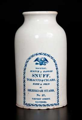 Rare CLEWS'S MANUFACTURER'S, Cobridge, England, circa 1820, Creamware Jar With Transfer-Printed Advertising for HEZEKIAH STARR / TOBACCO & CIGARS / BALTIMORE