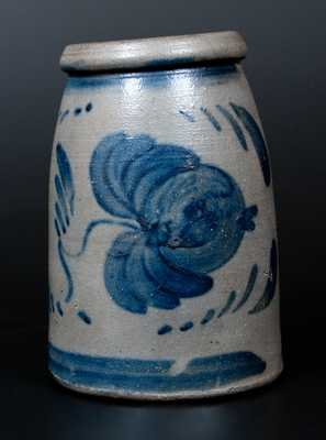 Rare and Fine Western PA Stoneware Canning Jar w/ Large Cobalt Floral Decoration