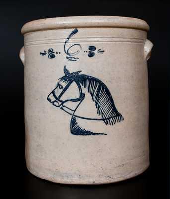 Rare Stoneware Horse Head Crock, Midwestern origin, circa 1860