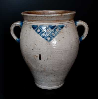 Rare New York City Stoneware Jar w/ Impressed Rosettes and Geometric Designs, circa 1790's