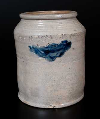 Very Fine Warne & Letts S. AMBOY N. JERSY Half-Gallon Stoneware Jar with Impressed Design