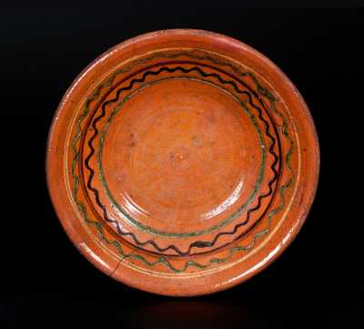 Redware Bowl with Green, Yellow, and Brown Slip Decoration