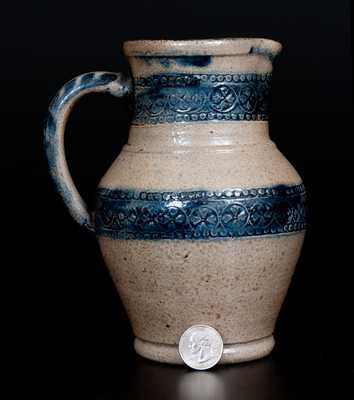 Very Rare Coggle-Decorated Remmey (Philadelphia) Stoneware Pitcher w/ Contemporary Copy by Jerry Beaumont and the Late Don Carpentier