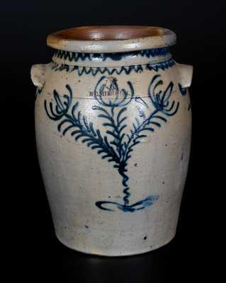 B. C. MILBURN, Alexandria, VA, Stoneware Jar w/ Fine Slip-Trailed Floral Decoration