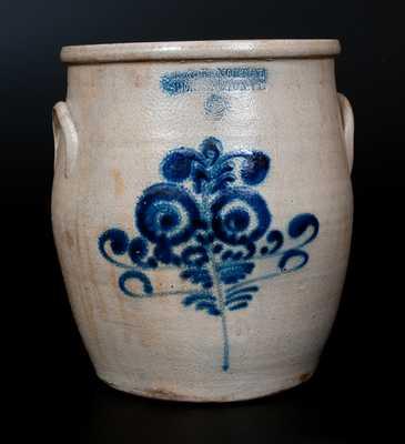 J. & E. NORTON / BENNINGTON, VT Stoneware Jar w/ Cobalt Floral Decoration