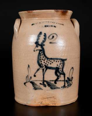 Rare T. HARRINGTON / LYONS Stoneware Deer Crock