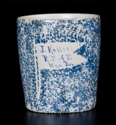 Rare Railroad Worker Spongeware Mug att. Pfaltzgraff Pottery