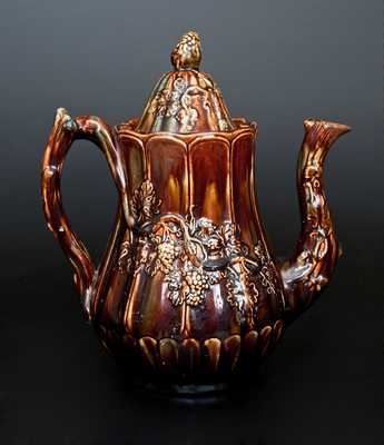 Very Rare Signed Charles Coxon, South Amboy, NJ Rockingham Pottery Coffeepot