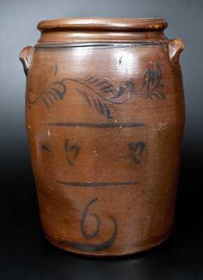 Six-Gallon att. D.G. Thompson, Morgantown, WV Stoneware Jar