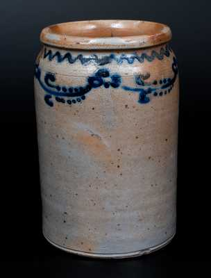 Rare Stoneware Jar w/ Slip-Trailed Floral Decoration att. William Morgan, Baltimore, 1820's
