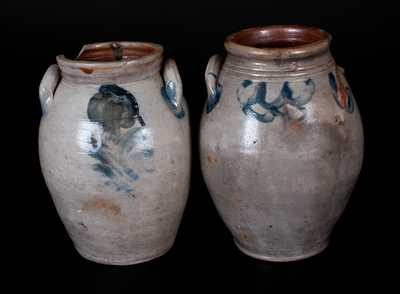 Lot of Two: Ovoid Decorated Stoneware Jars, NJ / CT, circa 1825