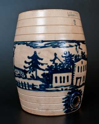 Exceptional J. & E. NORTON / BENNINGTON, VT Stoneware Water Cooler w/ House, Deer, and Bird-on-Stump Decoration