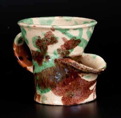 Shenandoah Valley Multi-Glazed Redware Shaving Mug, attrib. J. Eberly & Co., Strasburg, VA