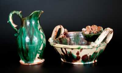 Exceptional Shenandoah Valley Multi-Glazed Redware Pitcher and Washbowl Set, attributed to J. Eberly & Co., Strasburg, VA, c1890