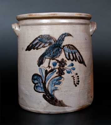 Exceedingly Rare and Important Morgantown, WV Stoneware Eagle Jar w/ Cobalt and Manganese Eagle