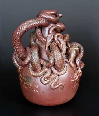 Extremely Rare and Important Anna Pottery Centennial Snake Temperance Jug