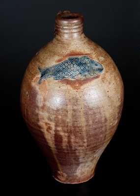Boston Stoneware Jug w/ Impressed Fish