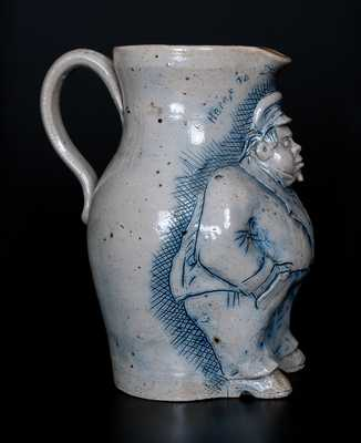 Exceedingly Rare and Important Anna Pottery Stoneware Railroad Conductor Pitcher