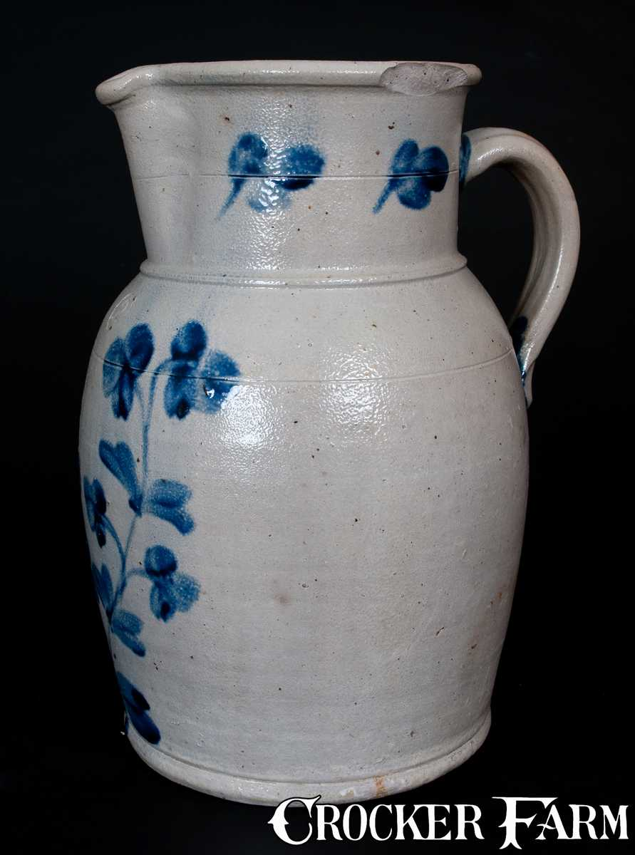 Two Gallon Baltimore Md Stoneware Pitcher With Cobalt