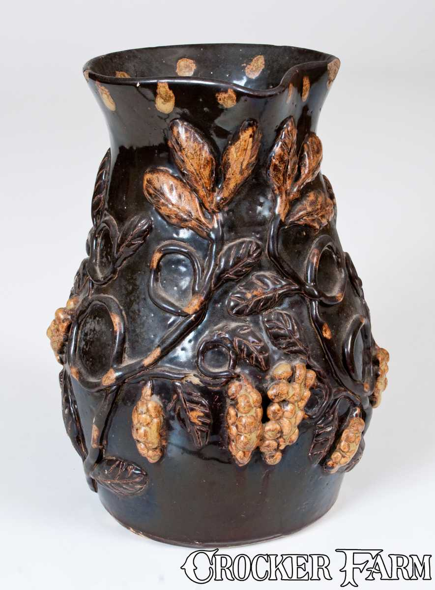 Exceptional Stoneware Pitcher W Elaborate Applied Trees