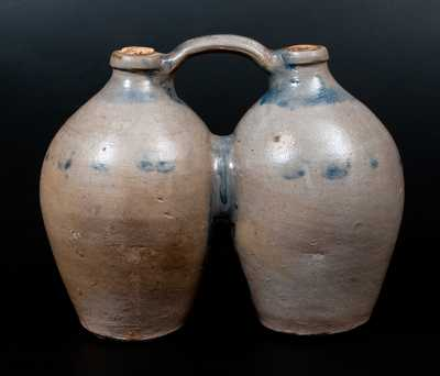 Rare Cobalt-Decorated Stoneware Gemel, Connecticut origin, circa 1825