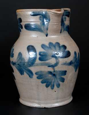 Half-Gallon Remmey, Philadelphia Stoneware Pitcher w/ Cobalt Floral Decoration