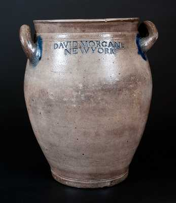 Very Rare DAVID. MORGAN. / NEW YORK Stoneware Jar w/ Impressed Swag-and-Heart Decorations