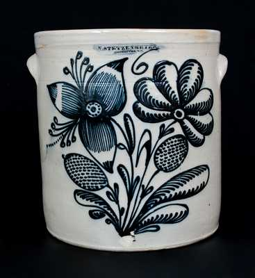 Important F. STETZENMEYER. / ROCHESTER, NY Six-Gallon Stoneware Crock w/ Profuse Floral Decoration
