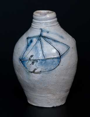 Important Small Incised Ship Stoneware Flask, New Jersey origin, 18th century