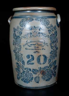 20 Gal. JAMES HAMILTON & CO. / Greensboro, PA Stoneware Jar w/ Profuse Stenciled Rose Decoration