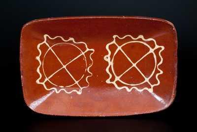 Huntington, Long Island Slip-Decorated Redware Loaf Dish w/ Double Pinwheel Decoration